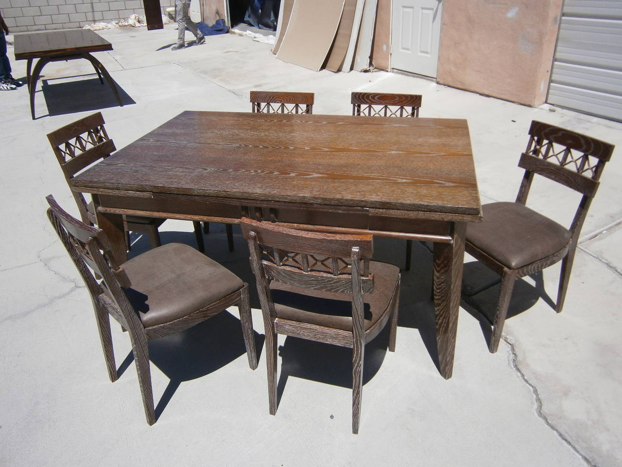 Cerused French Oak Dining Table And Six Chairs By Charles Dudouyt, Circa  1940 For Sale At 1stdibs