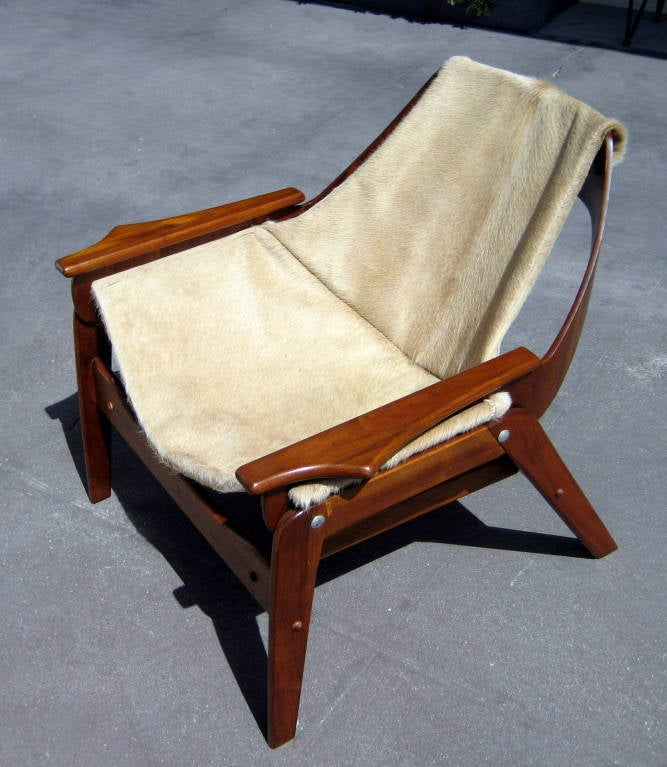 A walnut sling chair designed by Jerry Johnson in 1964 image 2