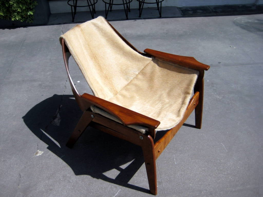 A walnut sling chair designed by Jerry Johnson in 1964 image 3