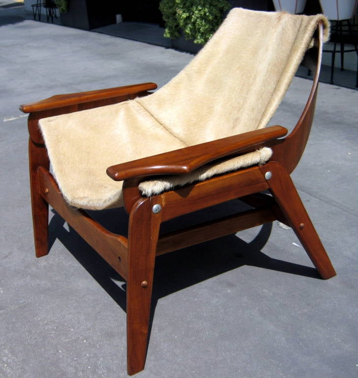 A walnut sling chair designed by Jerry Johnson in 1964 image 6