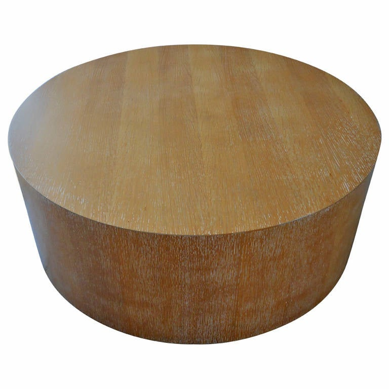 Cerused Oak Large Circular Drum Coffee Table At 1stdibs