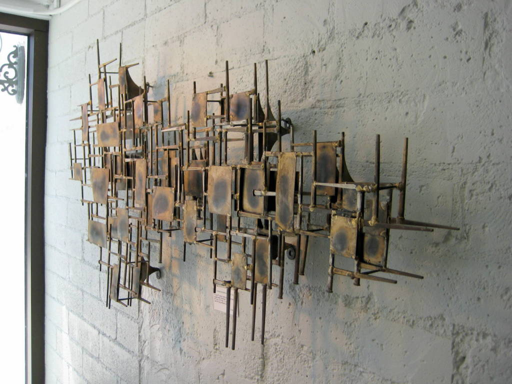 A mid century modern brass wall sculpture at 1stdibs for Brass wall art