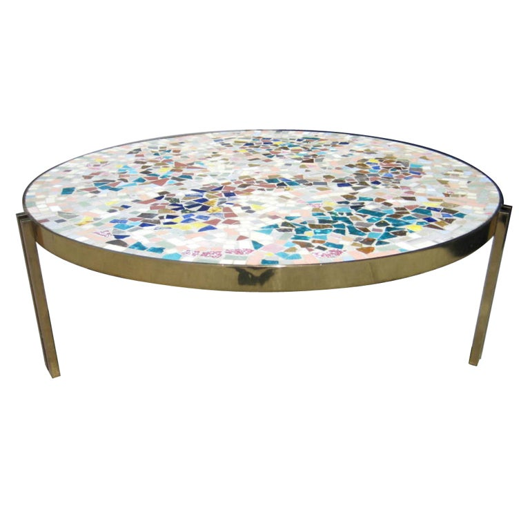 Custom Brass Coffee Table: A Custom Mosaic Topped Brass Base Coffee Table C.1960's At