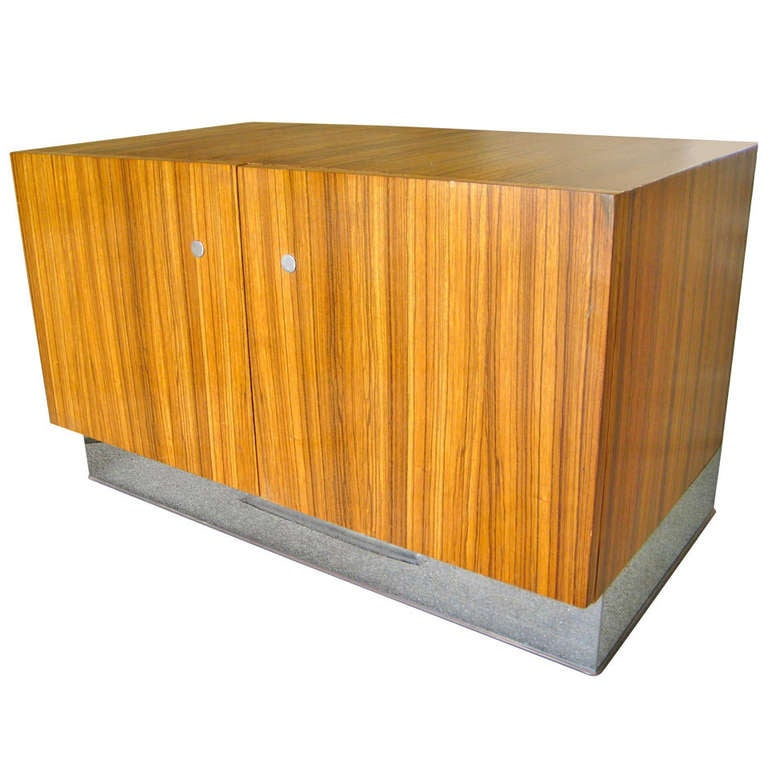 A Sleek Zebra Wood Low Cabinet By Milo Baughman For Thayer Coggin At 1stdibs