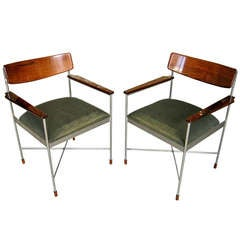 Pair of Steel and Rosewood Armchairs. Attributed to Saporiti C. 1960's