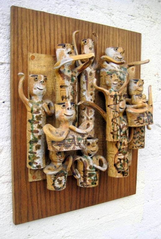 Whimsical Studio Pottery Wall Sculpture by Hal Fromhold c 1960 image 10