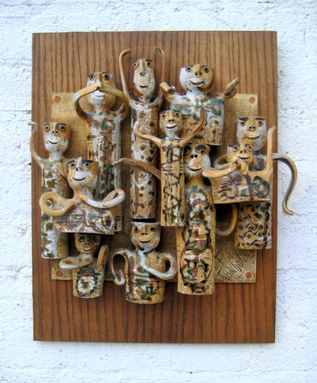 Whimsical Studio Pottery Wall Sculpture by Hal Fromhold c 1960 image 2
