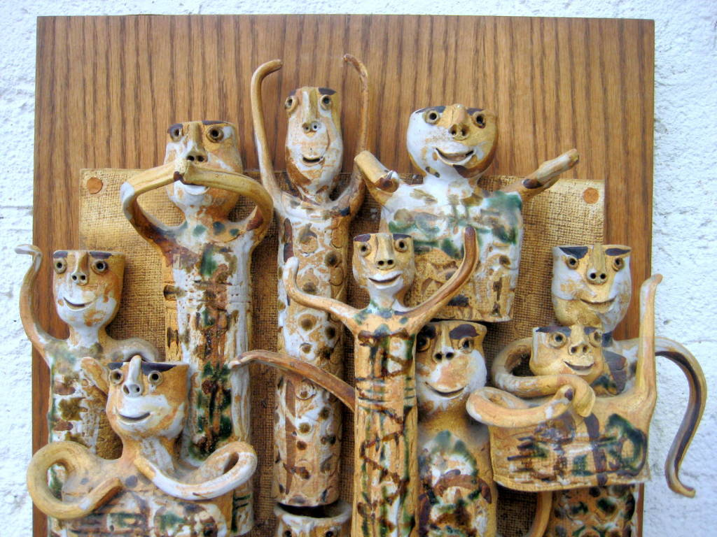 Whimsical Studio Pottery Wall Sculpture by Hal Fromhold c 1960 image 4