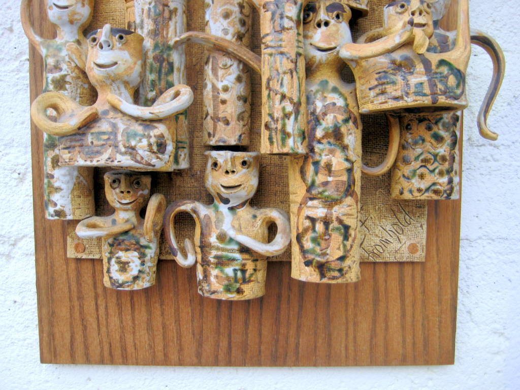Whimsical Studio Pottery Wall Sculpture by Hal Fromhold c 1960 image 5