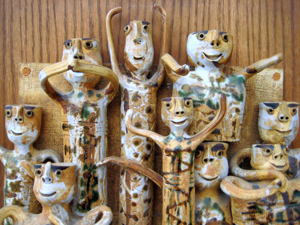 Whimsical Studio Pottery Wall Sculpture by Hal Fromhold c 1960 image 7