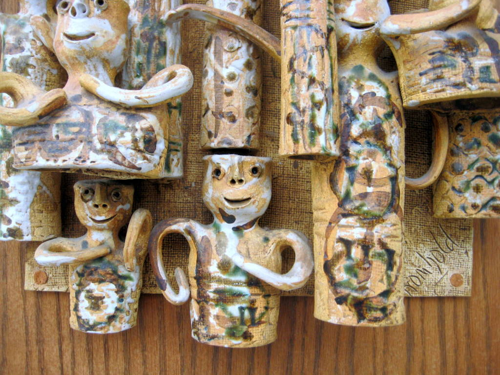Whimsical Studio Pottery Wall Sculpture by Hal Fromhold c 1960 image 8