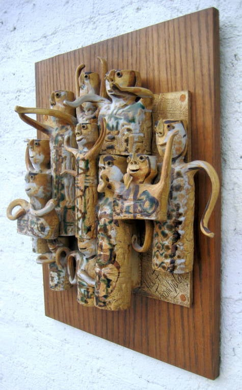 Whimsical Studio Pottery Wall Sculpture by Hal Fromhold c 1960 image 9