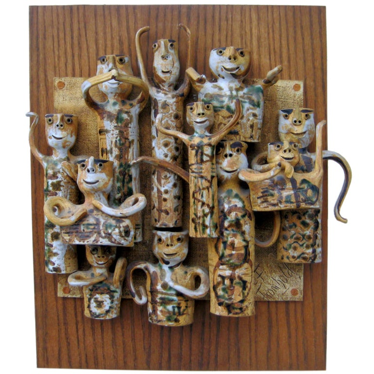 Whimsical Studio Pottery Wall Sculpture by Hal Fromhold c 1960