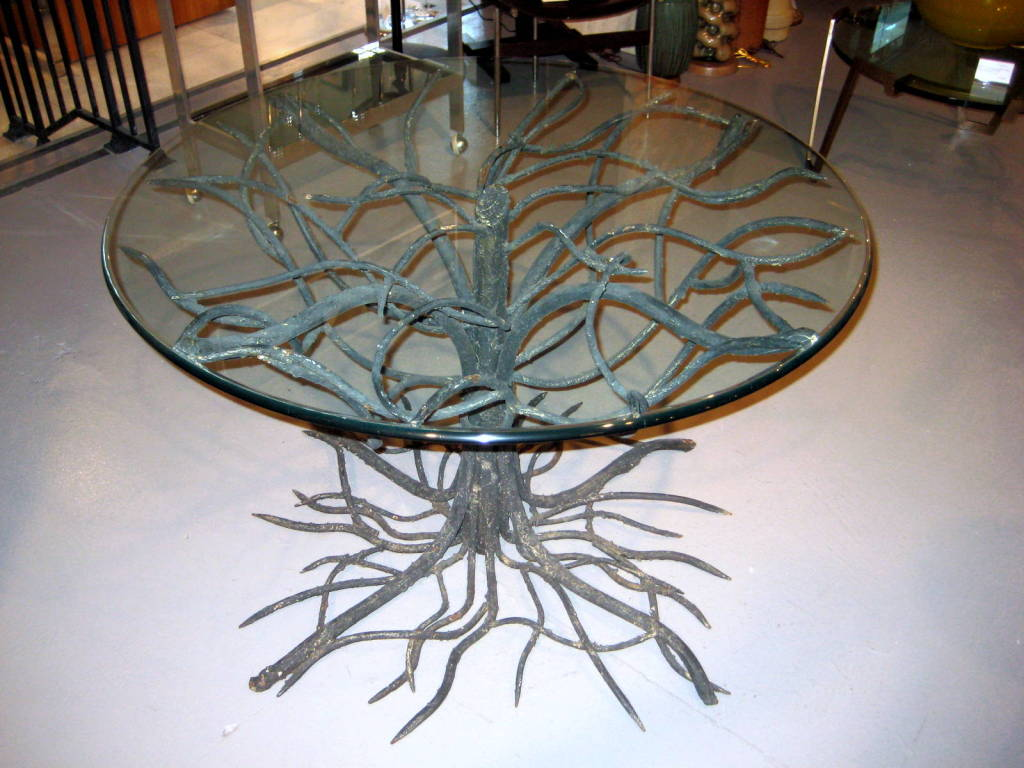 An Outstanding Wrought Iron Tree Form Table Base W Glass Top Ima
