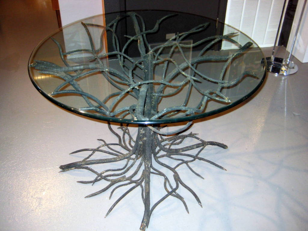 An outstanding wrought iron tree form table base w for Wrought iron and glass table