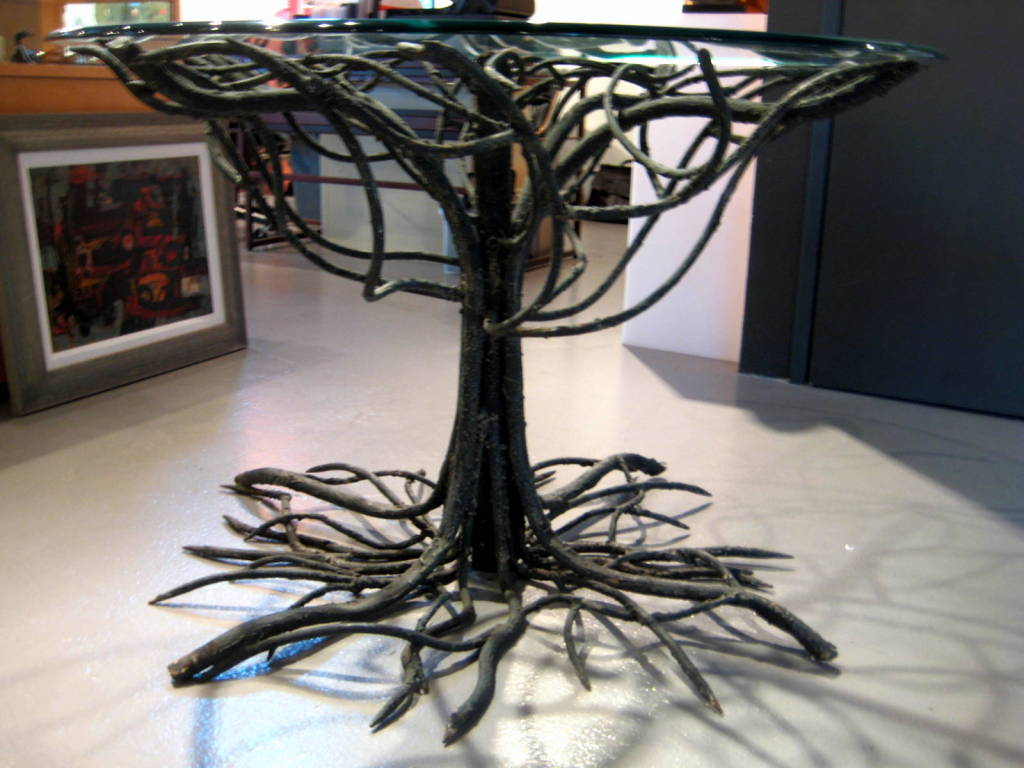 An Outstanding Wrought Iron Quot Tree Form Quot Table Base W