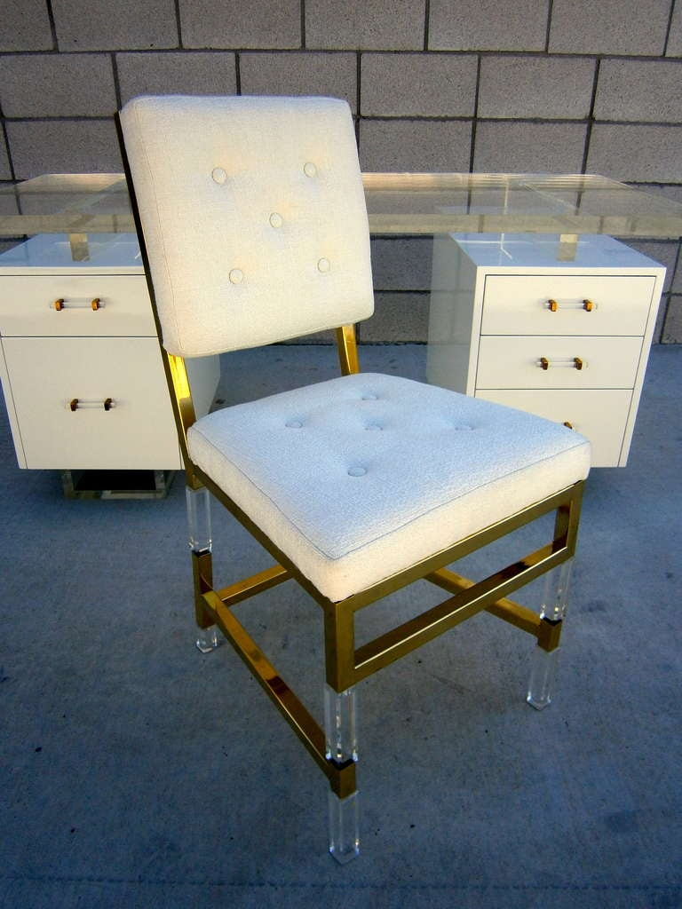 A vintage custom designed acrylic desk and chair C 1978 at