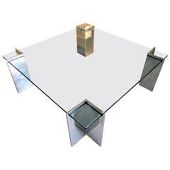 Glass and Polished Steel Coffee Table by Leon Rosen for Pace Collection C. 1970s