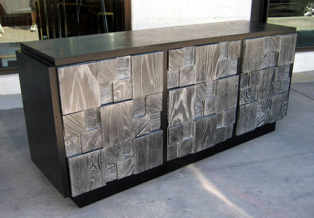 a black stained and grey cerused 9 drawer chest by lane at 1stdibs. Black Bedroom Furniture Sets. Home Design Ideas
