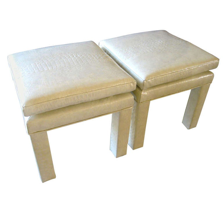 A Pair Of Crocodile Patterned Cream Colored Leather Parson