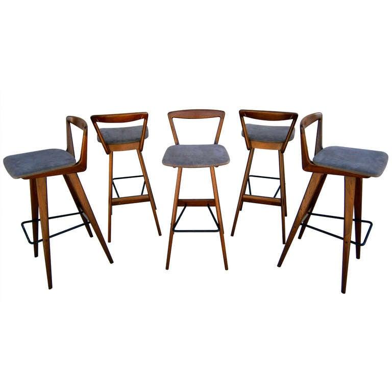 A Set Of Five Rosengren Hansen Walnut Stained Teak Bar