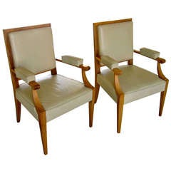 Pair of Sycamore and Leather Armchairs in the Style of Andre Arbus
