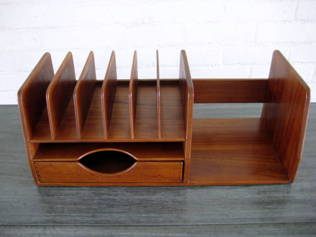 A hans wegner danish teak wood desk organizer at - Decorative desk organizers ...