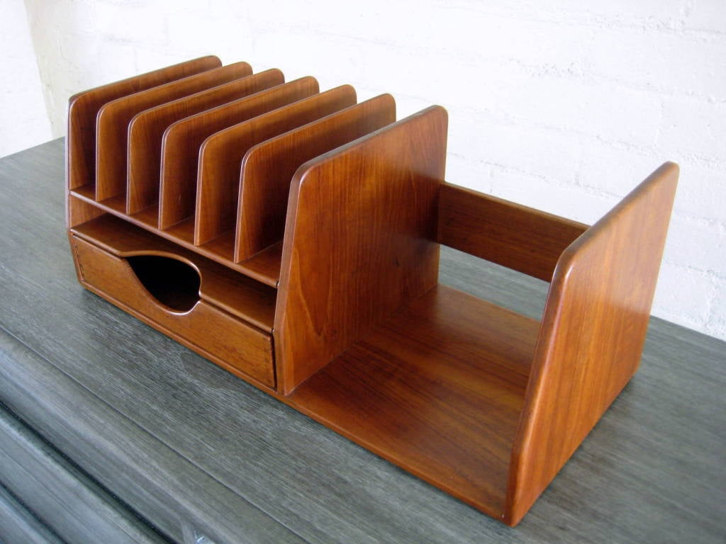 A hans wegner danish teak wood desk organizer at - Wooden desk organizer with drawers ...