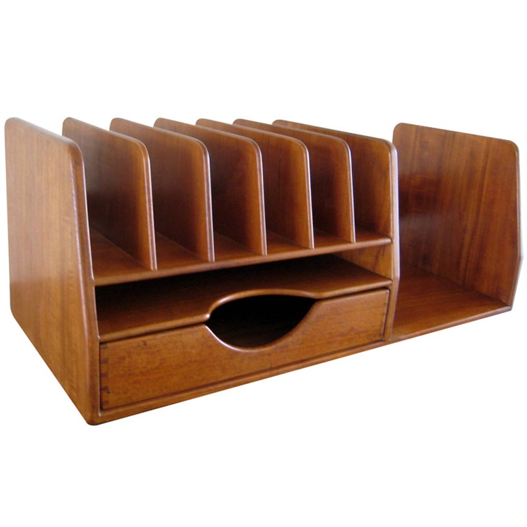 A hans wegner danish teak wood desk organizer at - Wood desk organizer ...