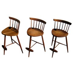 "A Trio of George Nakashima ""Mira"" Bar Stools C. 1960's"