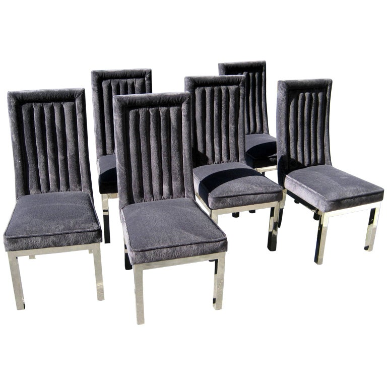 Set of six dining chairs in the manner of charles hollis for 1970 dining room set