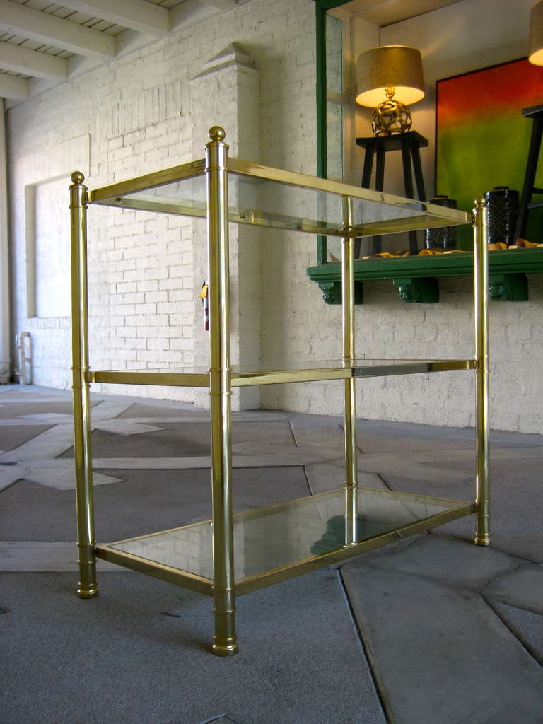 Brass And Glass Three Shelf Etagere Ca 1960s At 1stdibs