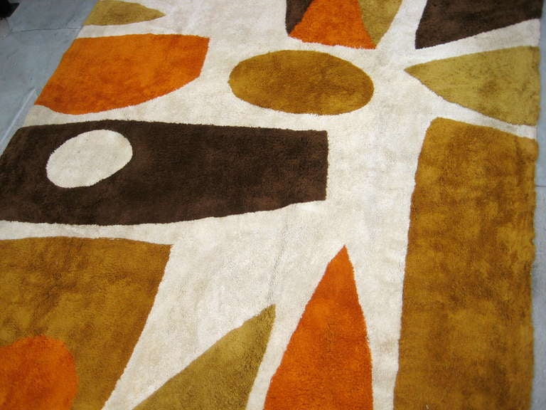 A strongly composed large scale Rya area rug c.1960u0026#39;s. at 1stdibs