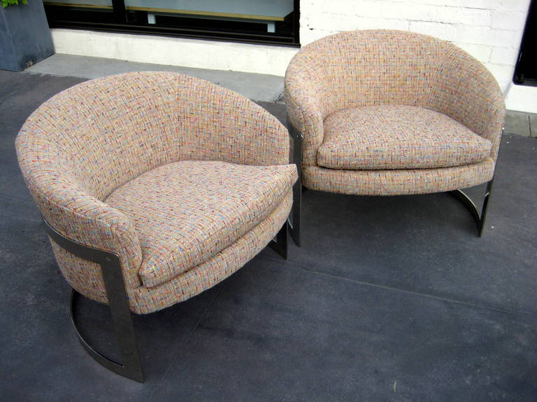 A Pair Of Nickel Plated Milo Baughman Tub Chairs C 1970 S