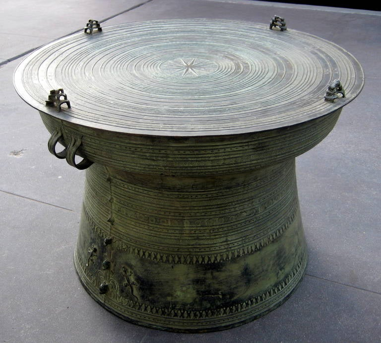 Chinese Drum Coffee Table: A 20th Century Southeast Asian Bronze Rain Drum With Great