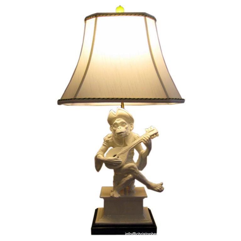 An Italian White Glazed Monkey Lamp At 1stdibs