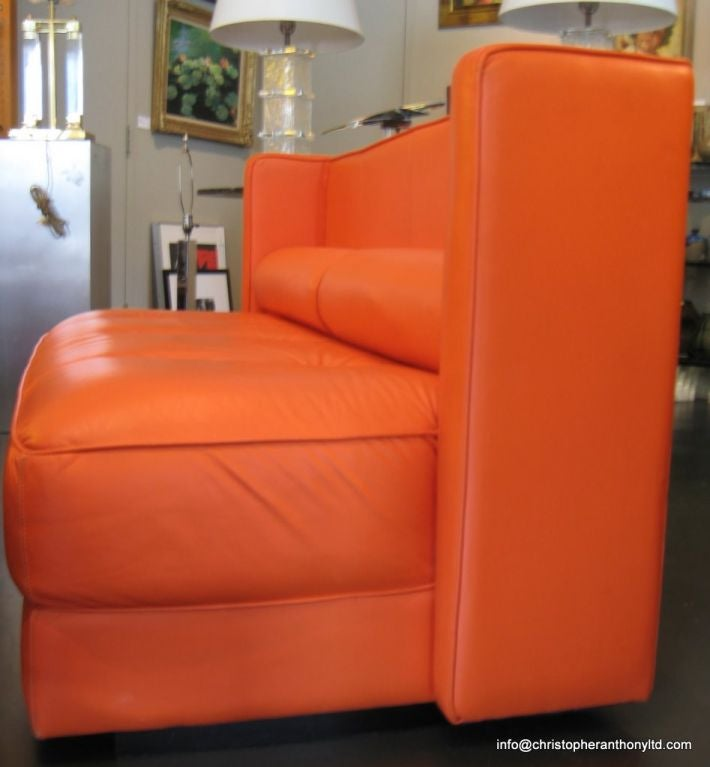 Custom Made Banquette Seating: Custom Built Orange Leather Banquette At 1stdibs