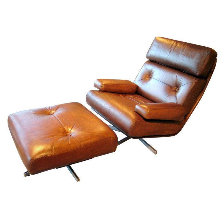 A Brazilian Lounge Swivel Chair And Ottoman Circa 1970 At