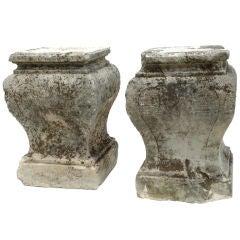 Pair of Limestone Plinths