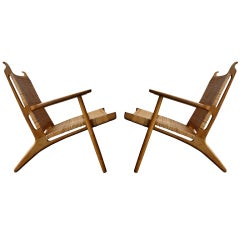 Pair of Hans Wegner Oak and Wicker Chairs
