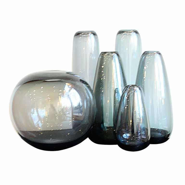 Collection of Grey Holmegaard Glassvases