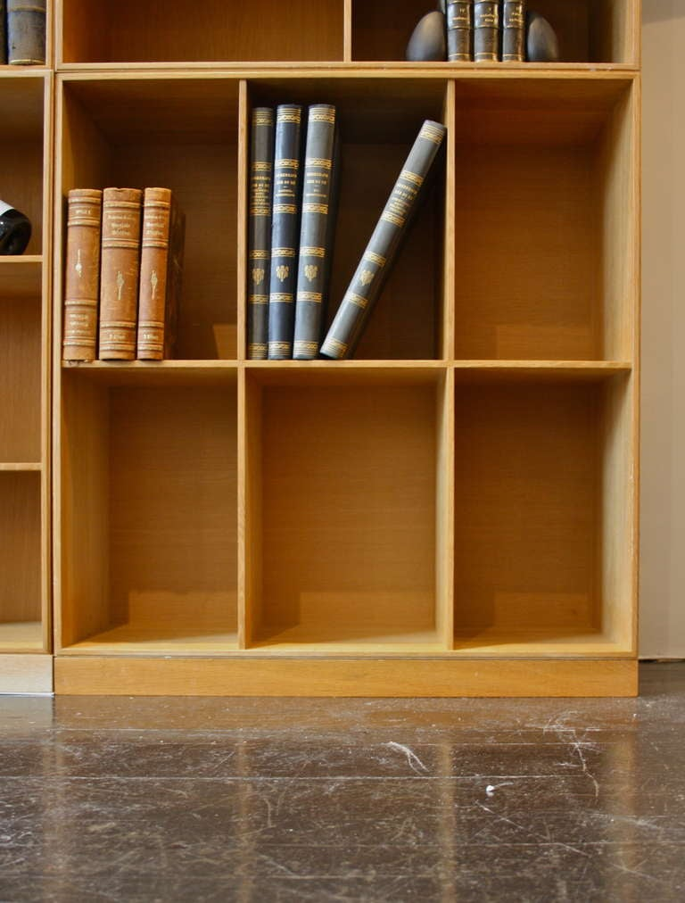 Set of 6 solid oak bookboxes and 3 plinths all designed by Mogens Koch and made by Mastercabinetmakers Rud Rasmussen. Great patina to the oak consistent with an age of c 50 years.