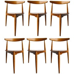 Set of 6 Heart Chairs by Hans Wegner