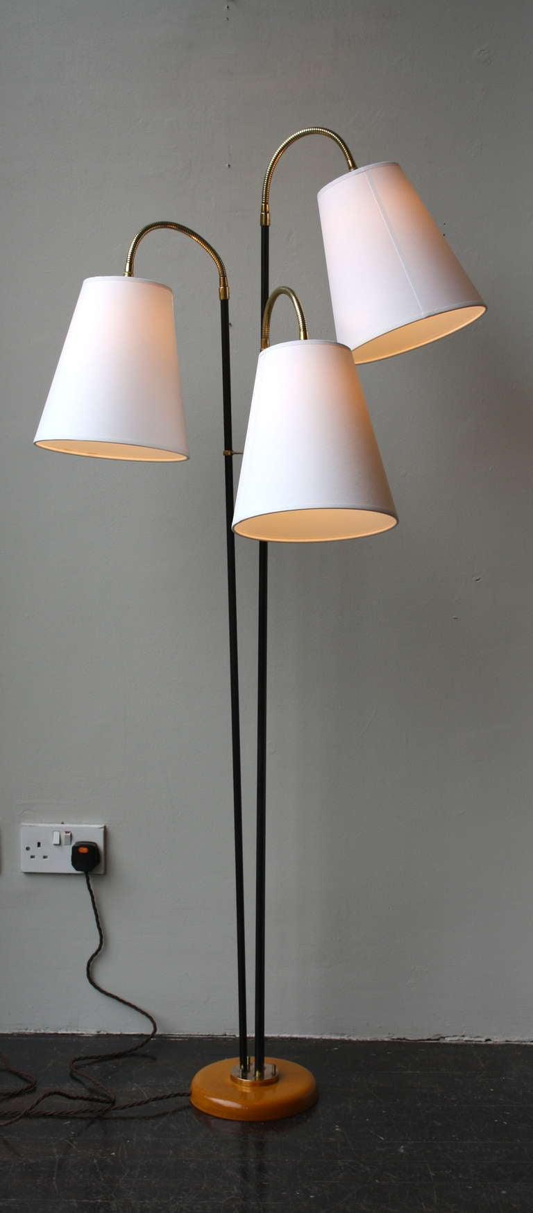 Three Armed Flexible Floor Light At 1stdibs