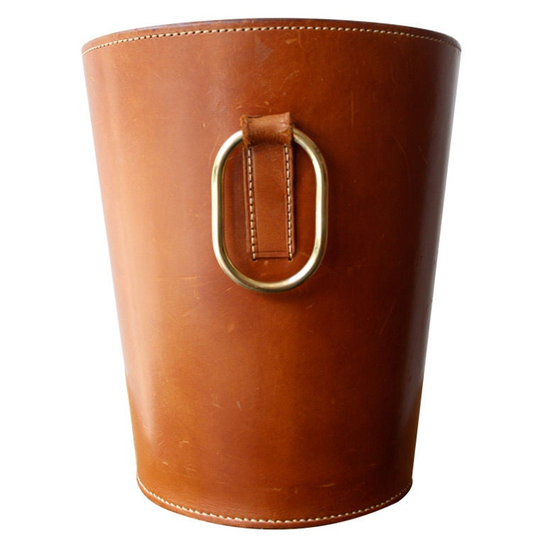Wastepaper Basket cognac leather carl aubock wastepaper basket at 1stdibs