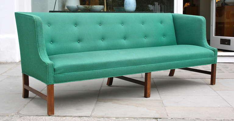 Scandinavian Modern Fantastic Long Green Sofa by Ole Wanscher