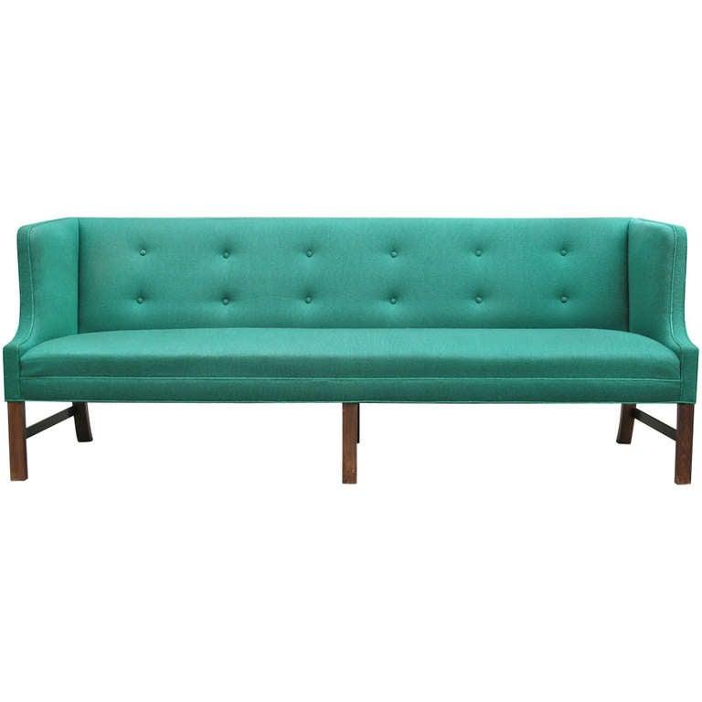 Fantastic Long Green Sofa by Ole Wanscher