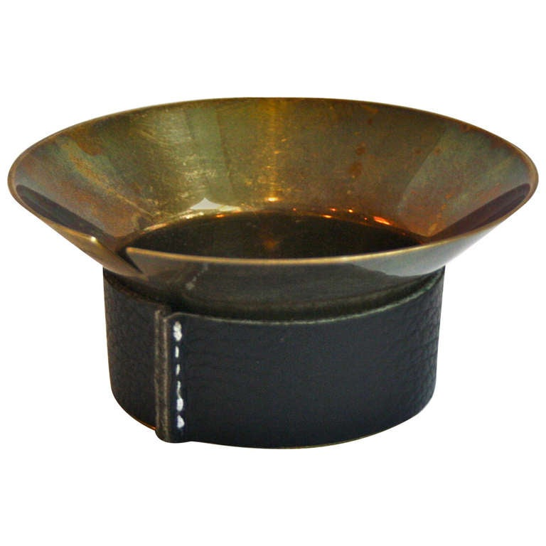 Carl Aubock Lovely Brass & Leather Ashtray