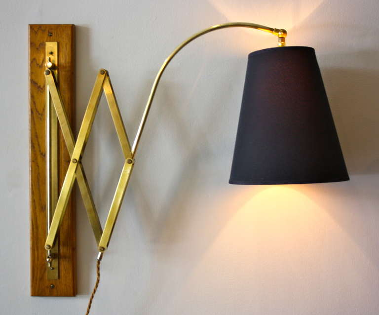Small White Wall Lights : Very Large Brass and Oak Wall Light at 1stdibs