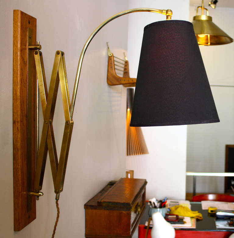 Very Large Brass and Oak Wall Light at 1stdibs